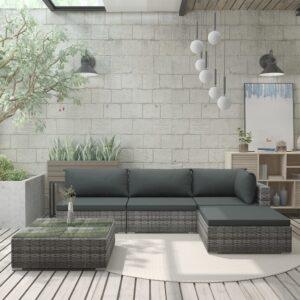 5 pcs conjunto lounge de jardim c/ almofadões vime PE cinzento - PORTES GRÁTIS