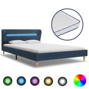 Cama c/ LED e colchão espuma de memória 140x200cm tecido azul - PORTES GRÁTIS