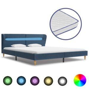 Cama c/ LED e colchão espuma de memória 160x200cm tecido azul - PORTES GRÁTIS