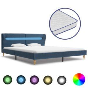 Cama c/ LED e colchão espuma de memória 180x200 cm tecido azul - PORTES GRÁTIS