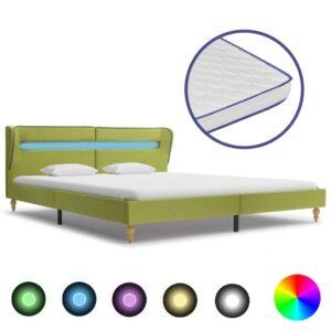 Cama c/ LED e colchão espuma de memória 180x200 cm tecido verde - PORTES GRÁTIS
