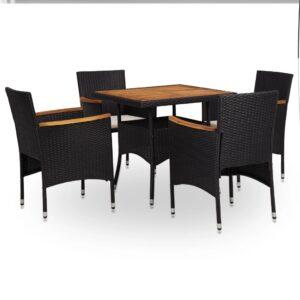 5 pcs conjunto jantar p/ exterior vime PE madeira acácia preto - PORTES GRÁTIS