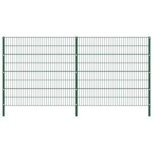 Painel de vedação com postes ferro 3,4x1,6 m verde - PORTES GRÁTIS