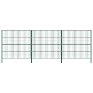 Painel de vedação com postes ferro 5,1x1,6 m verde - PORTES GRÁTIS