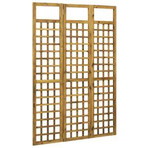Biombo/treliça 3 painéis madeira de acácia maciça 120x170 cm - PORTES GRÁTIS