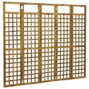 Biombo/treliça 5 painéis madeira de acácia maciça 200x170 cm - PORTES GRÁTIS