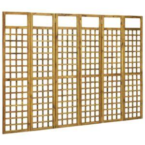 Biombo/treliça 6 painéis madeira de acácia maciça 240x170 cm - PORTES GRÁTIS