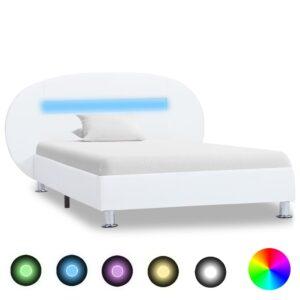 Estrutura de cama c/ LEDs 100x200 cm couro artificial branco - PORTES GRÁTIS