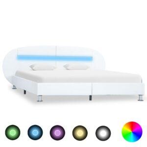 Estrutura de cama c/ LEDs 160x200 cm couro artificial branco - PORTES GRÁTIS