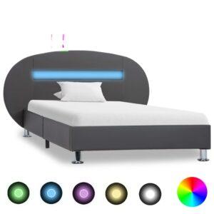 Estrutura de cama c/ LEDs 100x200 cm couro artificial cinzento - PORTES GRÁTIS