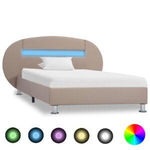 Estrutura de cama c/ LEDs 100x200cm couro artificial cappuccino - PORTES GRÁTIS