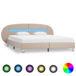 Estrutura de cama c/ LEDs 140x200cm couro artificial cappuccino - PORTES GRÁTIS