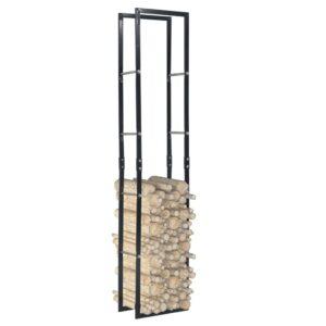 Suporte para lenha 40x25x200 cm aço preto - PORTES GRÁTIS