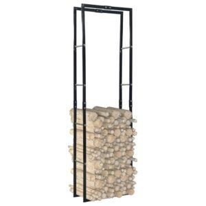 Suporte para lenha 60x25x200 cm aço preto - PORTES GRÁTIS
