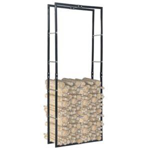 Suporte para lenha 80x25x200 cm aço preto - PORTES GRÁTIS