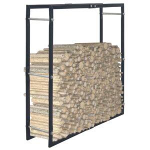 Suporte para lenha 100x25x100 cm aço preto - PORTES GRÁTIS