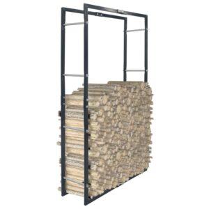 Suporte para lenha 80x25x150 cm aço preto - PORTES GRÁTIS