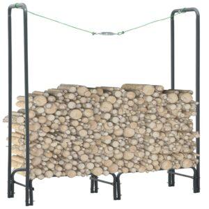 Suporte para lenha 120x35x120 cm aço antracite - PORTES GRÁTIS