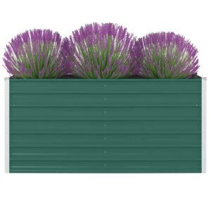 Canteiro de jardim elevado 160x80x77cm aço galvanizado verde - PORTES GRÁTIS