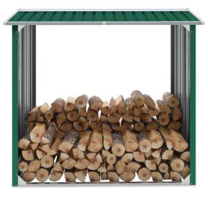 Abrigo para arrumação de troncos aço 172x91x154 cm verde - PORTES GRÁTIS