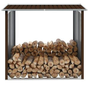 Abrigo para arrumação de troncos aço 172x91x154 cm castanho - PORTES GRÁTIS