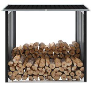Abrigo para arrumação de troncos aço 172x91x154 cm antracite - PORTES GRÁTIS