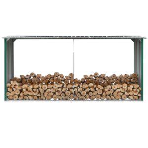 Abrigo jardim p/ arrumação de troncos aço 330x92x153cm verde - PORTES GRÁTIS