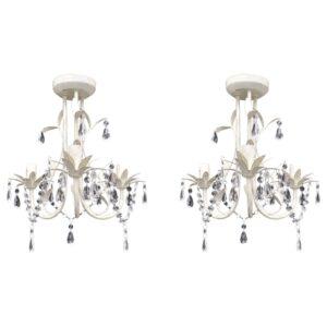 Lustres de teto com contas de cristal 2 pcs branco elegante - PORTES GRÁTIS