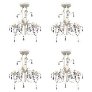 Lustres de teto com contas de cristal 4 pcs branco elegante  - PORTES GRÁTIS