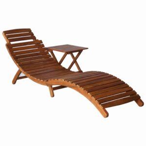 Espreguiçadeira com mesa madeira de acácia maciça castanho - PORTES GRÁTIS