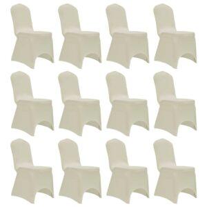 Capa para cadeira elástica 12 pcs cor creme - PORTES GRÁTIS