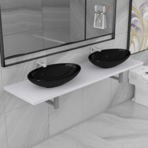 Conjunto de móveis de casa banho 3 peças cerâmica branco - PORTES GRÁTIS