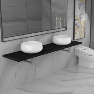 Conjunto de móveis de casa banho 3 peças cerâmica preto - PORTES GRÁTIS