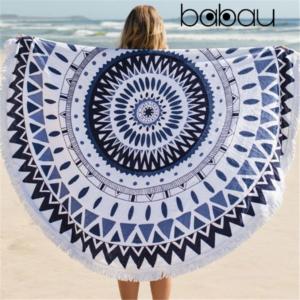 Toalha de Praia Redonda | Boho Mandala | Diâmetro 150 cm