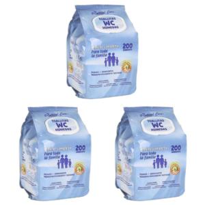 600 Toalhitas WC Húmidas  - Pack de 3 Embalagens