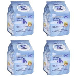 800 Toalhitas WC Húmidas  - Pack de 4 Embalagens