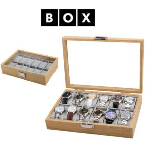 Caixa de Arrumação para 12 Relógios | Acabamento Premium | Madeira | PDMDF06