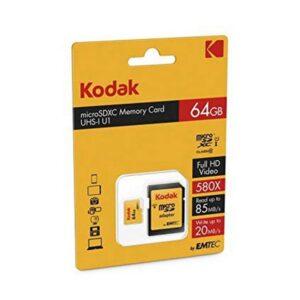 Cartão de Memória Micro SD com Adaptador Kodak UHS-I U1 Amarelo 64 GB