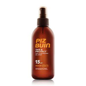Óleo Solar em Spray Tan and Protect Piz Buin SPF 15