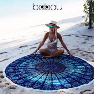 Toalha de Praia Redonda | Mandala Laguna | Diâmetro 150 cm