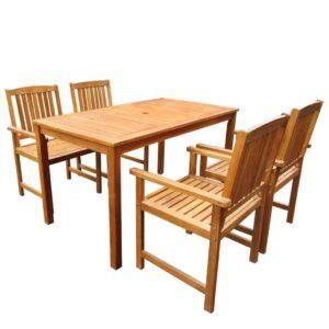 5 pcs conjunto de jantar exterior madeira acácia maciça - PORTES GRÁTIS