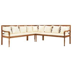 3 pcs sofá de jardim c/ almofadões acácia maciça - PORTES GRÁTIS
