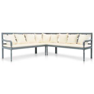 3 pcs sofá de jardim c/ almofadões acácia maciça cinzento - PORTES GRÁTIS
