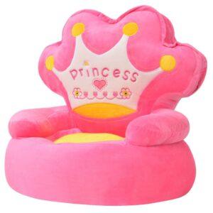 Cadeira em pelúcia infantil, princesa, rosa - PORTES GRÁTIS