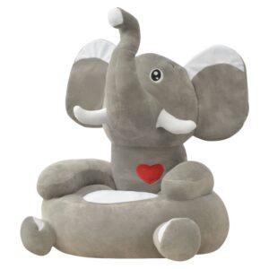 Cadeira em pelúcia infantil, elefante, cinzento - PORTES GRÁTIS