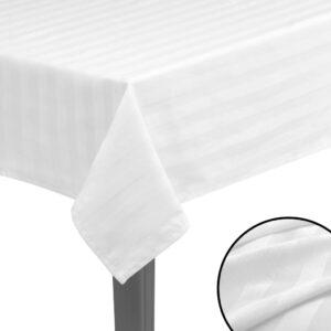 5 Toalhas de mesa cetim de algodão branco 130x130 cm - PORTES GRÁTIS