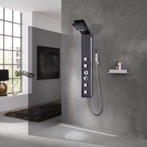Sistema de coluna de duche vidro castanho - PORTES GRÁTIS