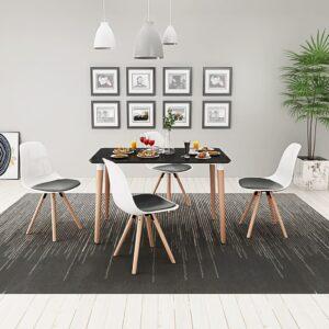 Conjunto mesa e cadeiras de jantar, 5 pcs, preto e branco - PORTES GRÁTIS