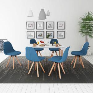 Conjunto mesa e cadeiras de jantar, 7 pcs, branco e azul - PORTES GRÁTIS