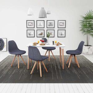 Conjunto mesa e cadeiras de jantar, 5 pcs, branco/cinza escuro - PORTES GRÁTIS